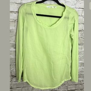 Athleta Pomona Top Chartreuse L/S Striped Top S
